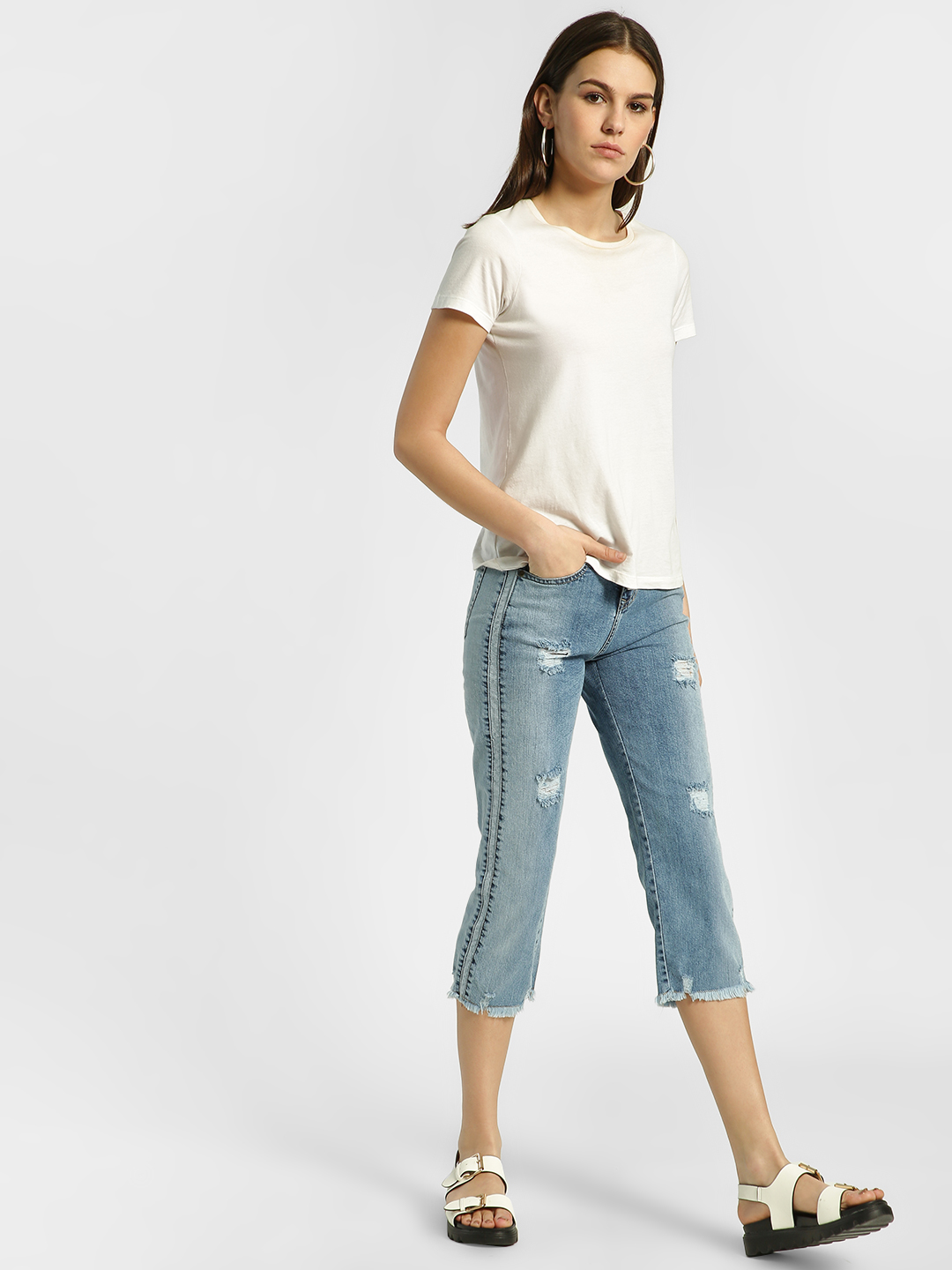 HEY Blue Light Wash Distressed & Cropped Boyfriend Jeans 1