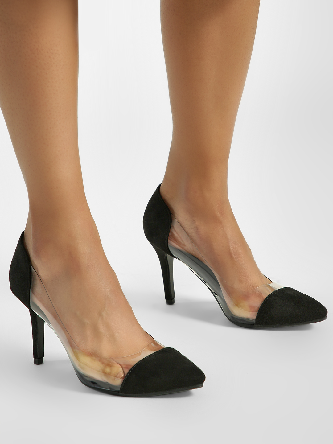 My Foot Couture Black Clear Suede Toe Pumps 1