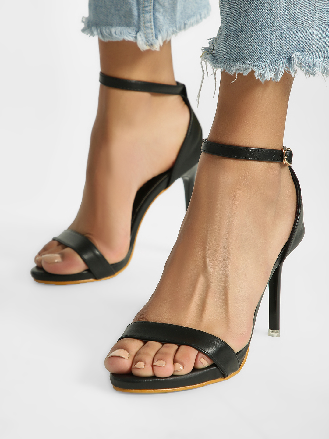 My Foot Couture Black Basic Heeled Sandals 1