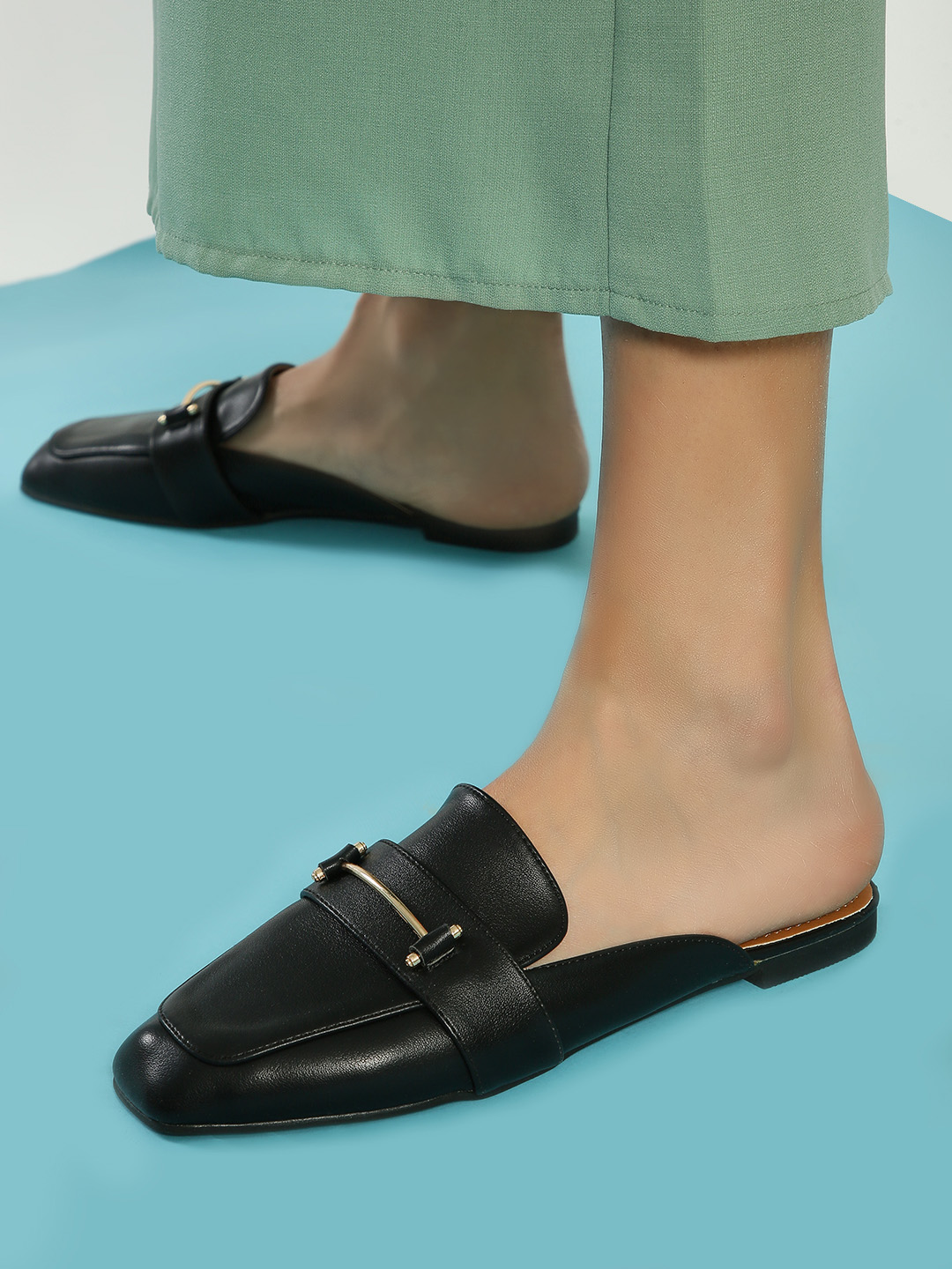 My Foot Couture Black Hardware Detail Flat Mules 1