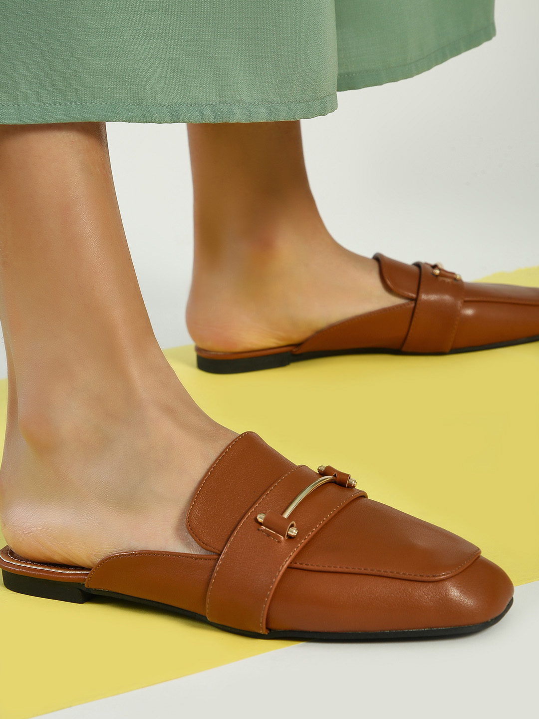 My Foot Couture Tan Hardware Detail Flat Mules 1