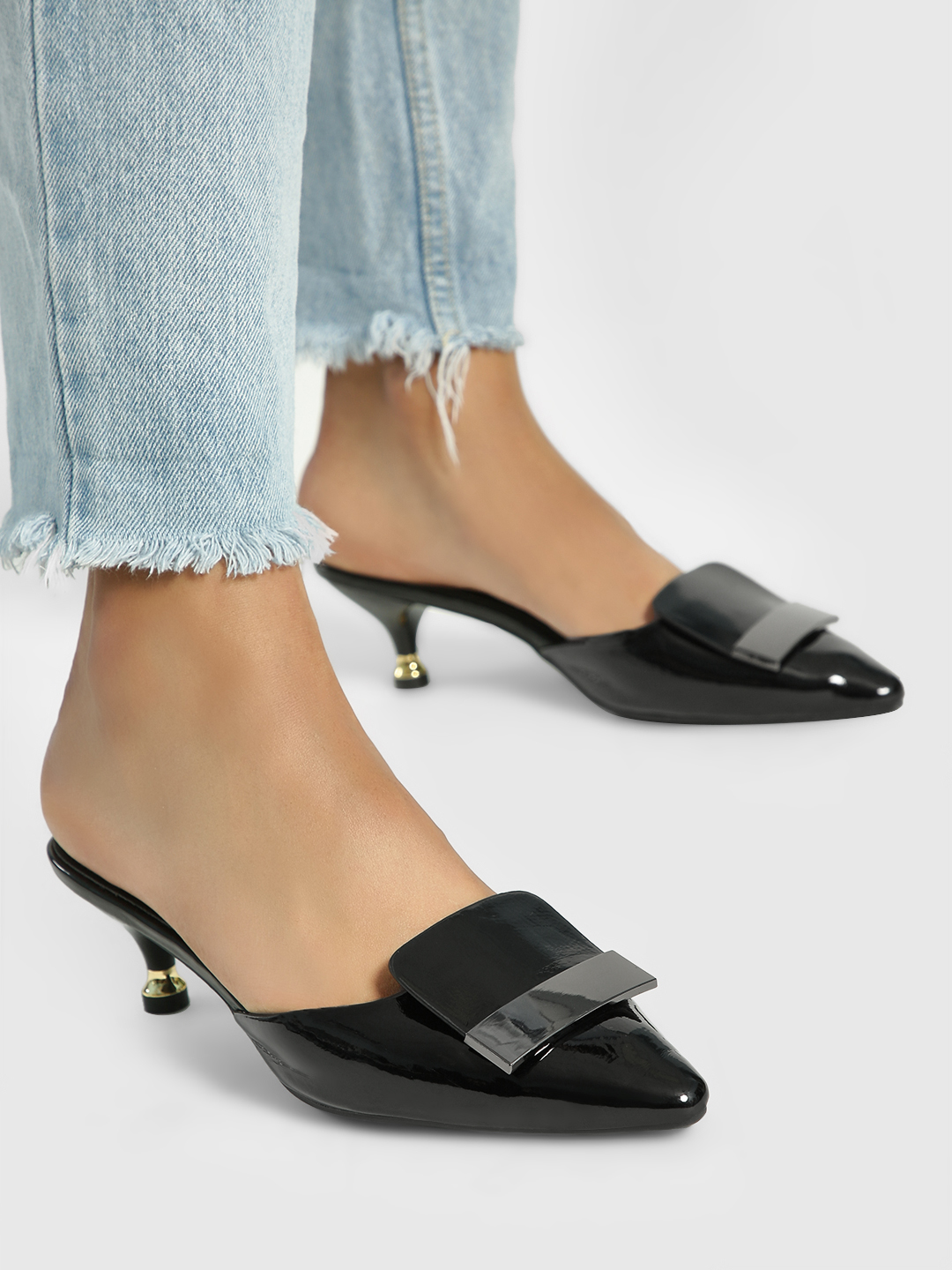 My Foot Couture Black Buckle Detail Kitten Heel Mules 1