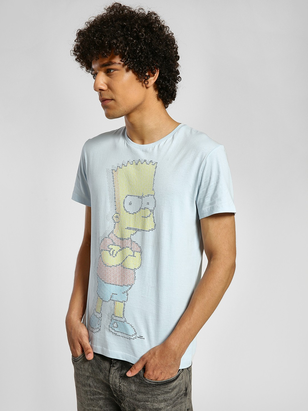 Free Authority Sky Blue The Simpsons Print T-Shirt 1