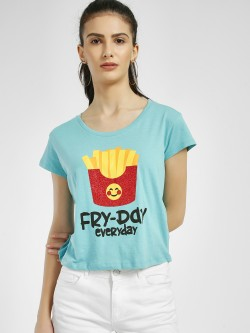 Free Authority Fry-Day Everyday Emoji Print T-Shirt