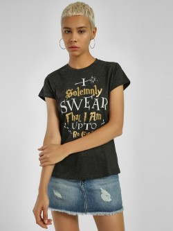 Free Authority Slogan Foil Print T-Shirt