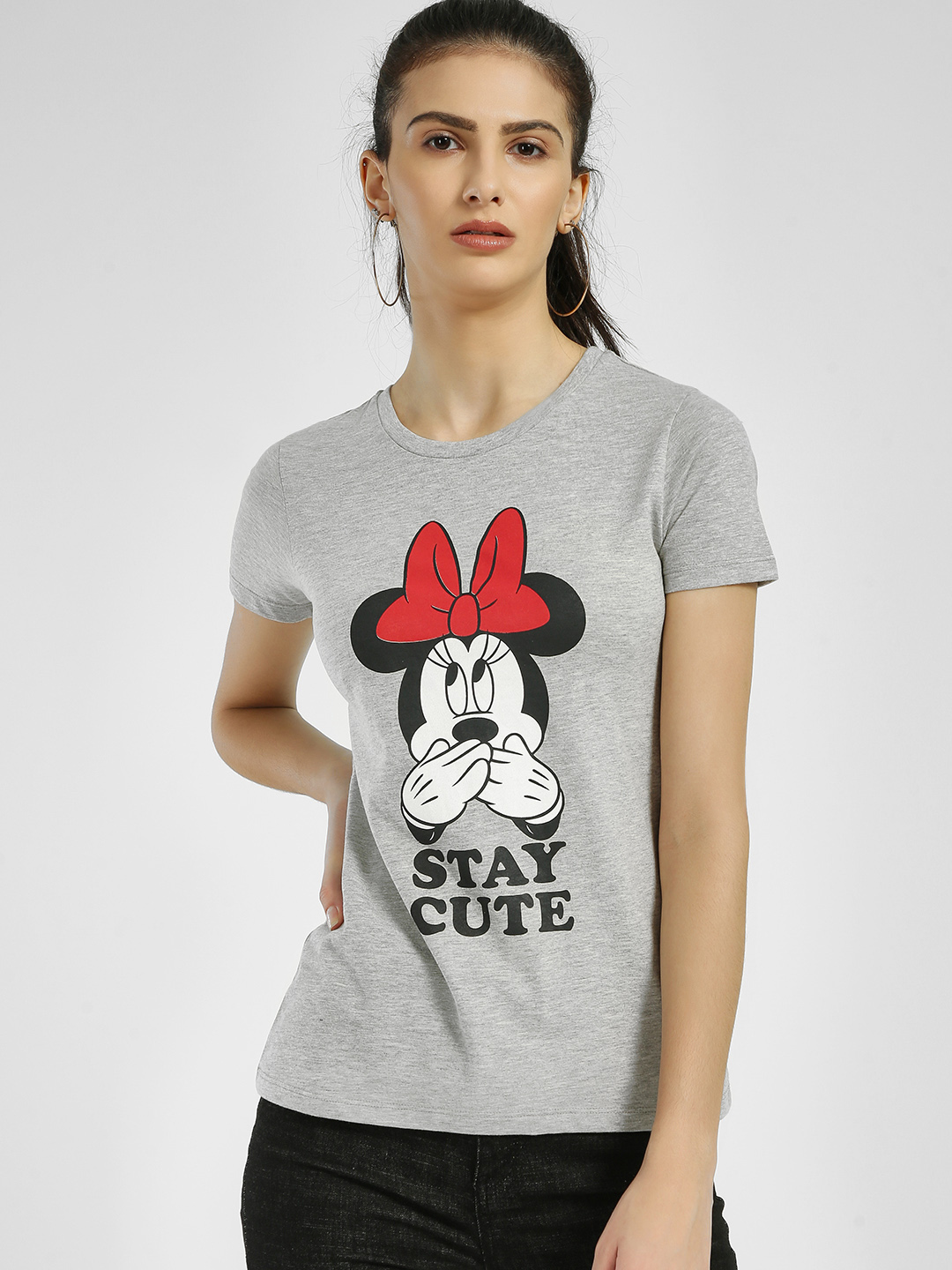 Free Authority Grey Mickey Mouse Text Print T-Shirt 1