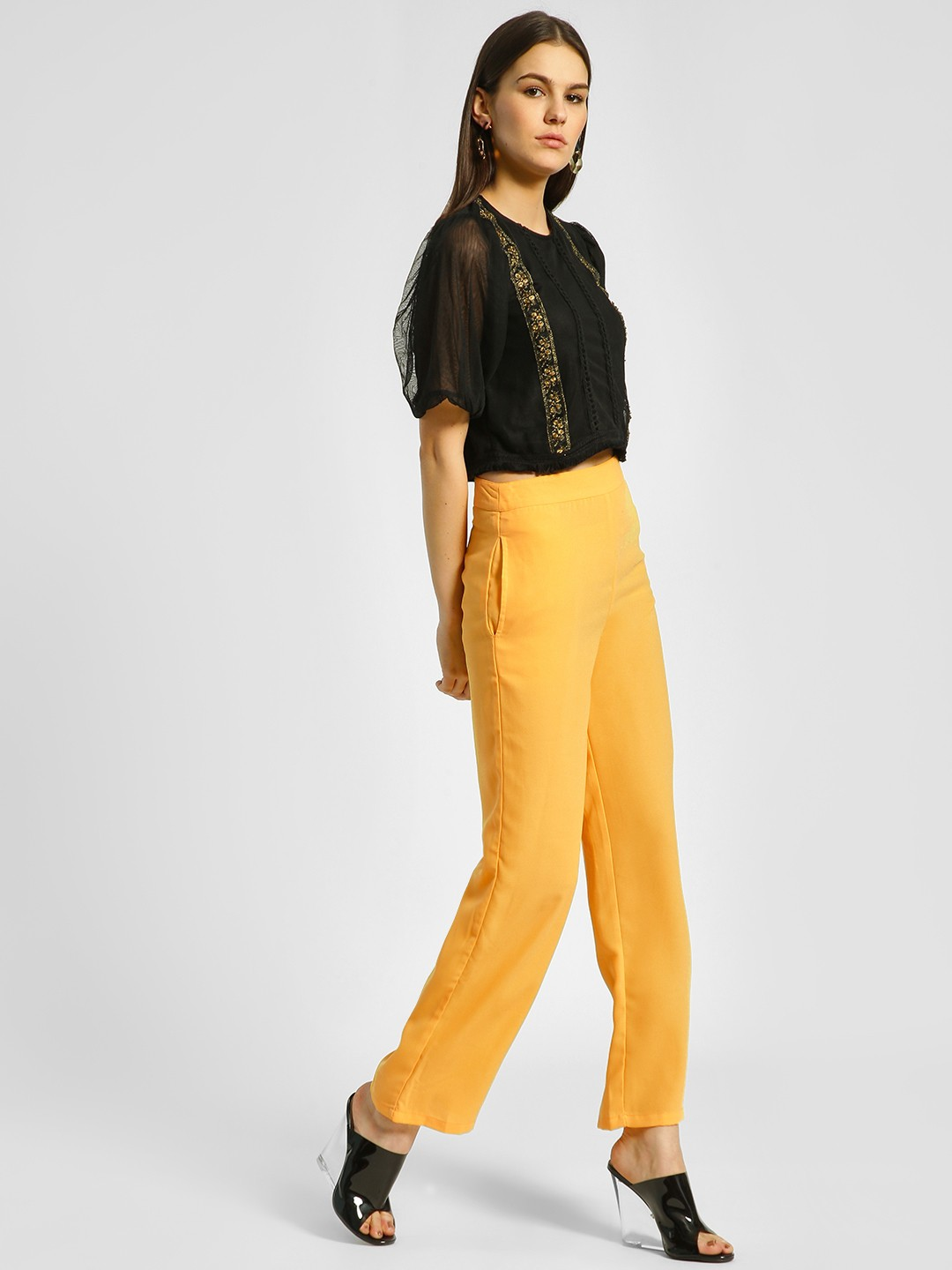 Ri-Dress Yellow Basic High Waist Trousers 1