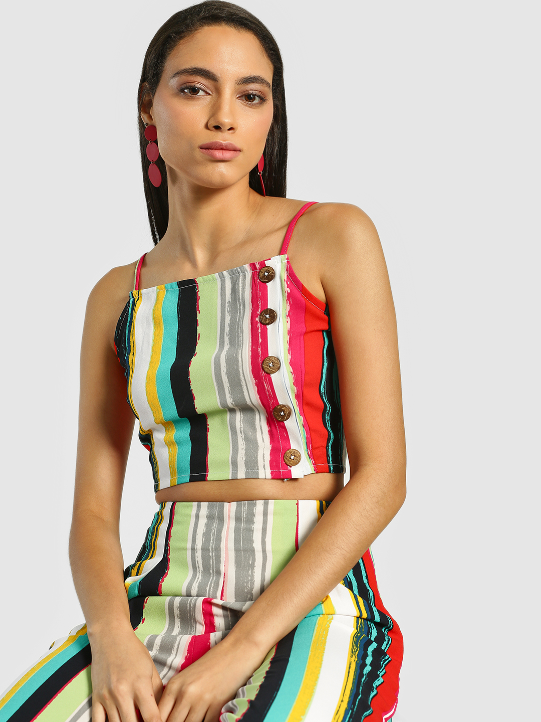Ri-Dress Multi Stripe Print Buttoned Crop Top 1
