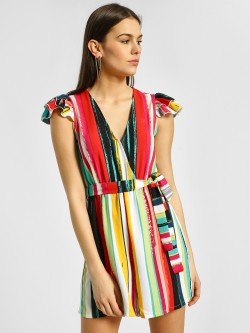 Ri-Dress Multi Vertical Stripe Tie-Up Playsuit