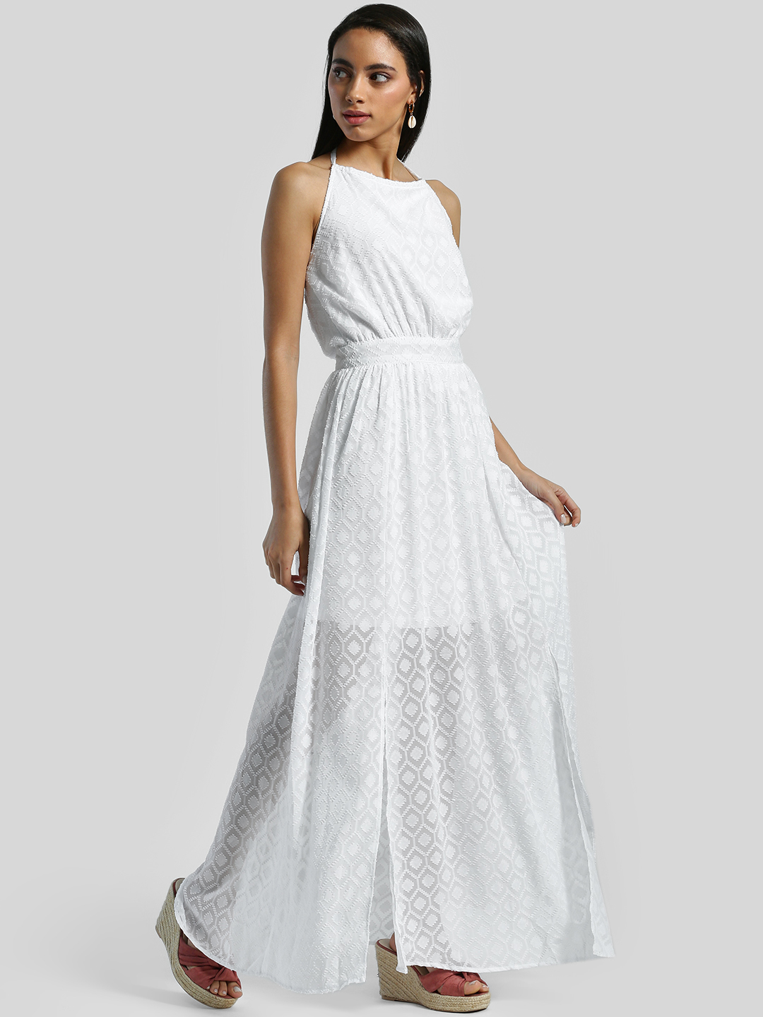 Ri-Dress White Dobby Halter Neck Maxi Dress 1