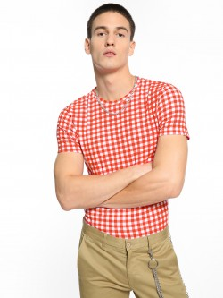 KOOVS Gingham Check Muscle Fit T-Shirt