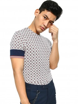 KOOVS Tile Print Muscle Fit T-Shirt