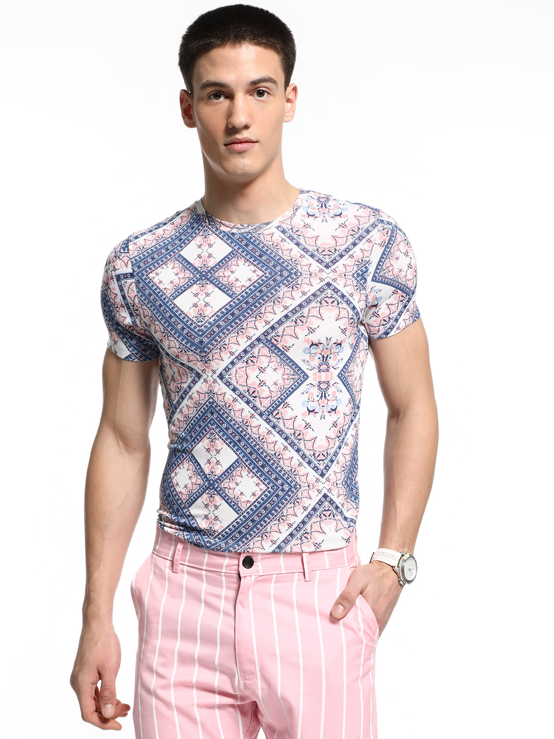 KOOVS Multi Tile Print Muscle Fit T-Shirt 1