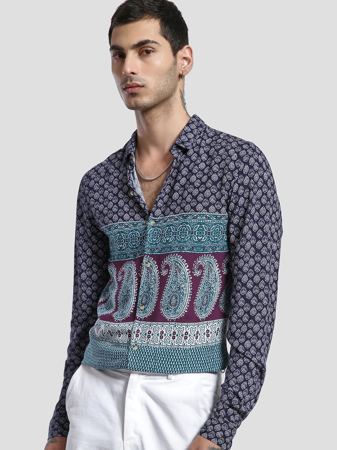 KOOVS Multi Paisley Print Long Sleeve Shirt 1