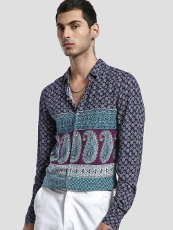 KOOVS Paisley Print Long Sleeve Shirt