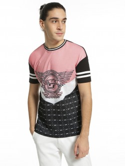 KOOVS Skull Text Chevron Print T-Shirt