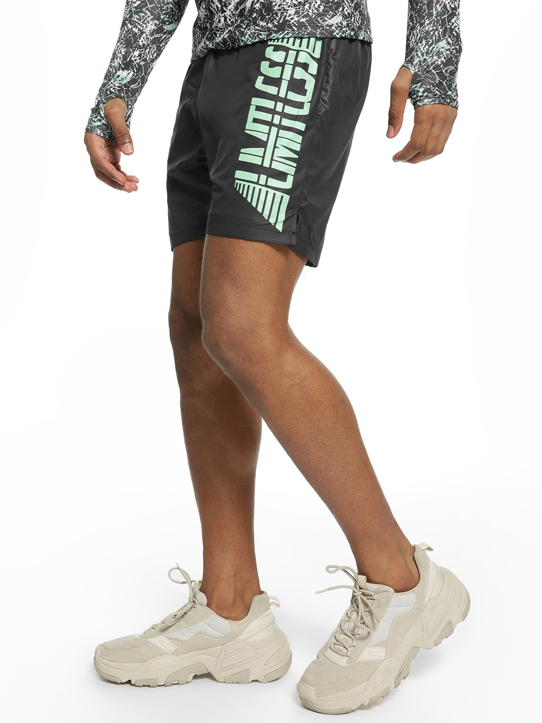 K ACTIVE Black KOOVS Limitless Side Text Shorts 1