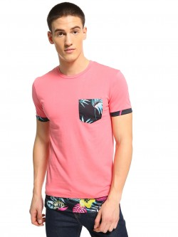 KOOVS Floral Palm Print Pocket T-Shirt