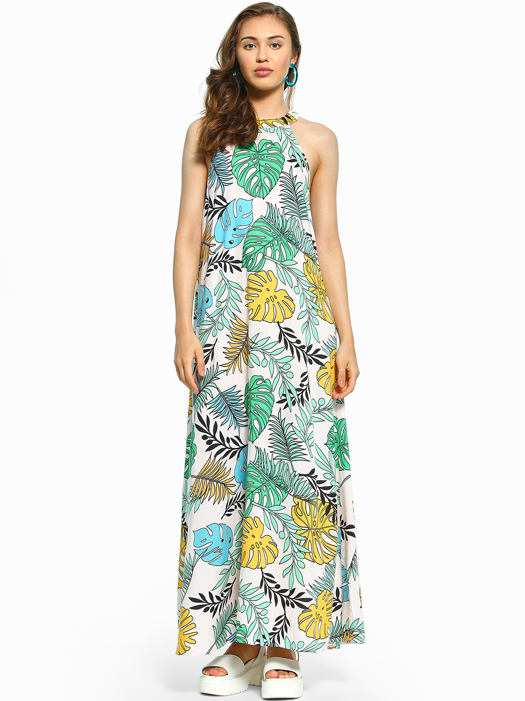 KOOVS Multi Tropical Palm Print Maxi Dress 1