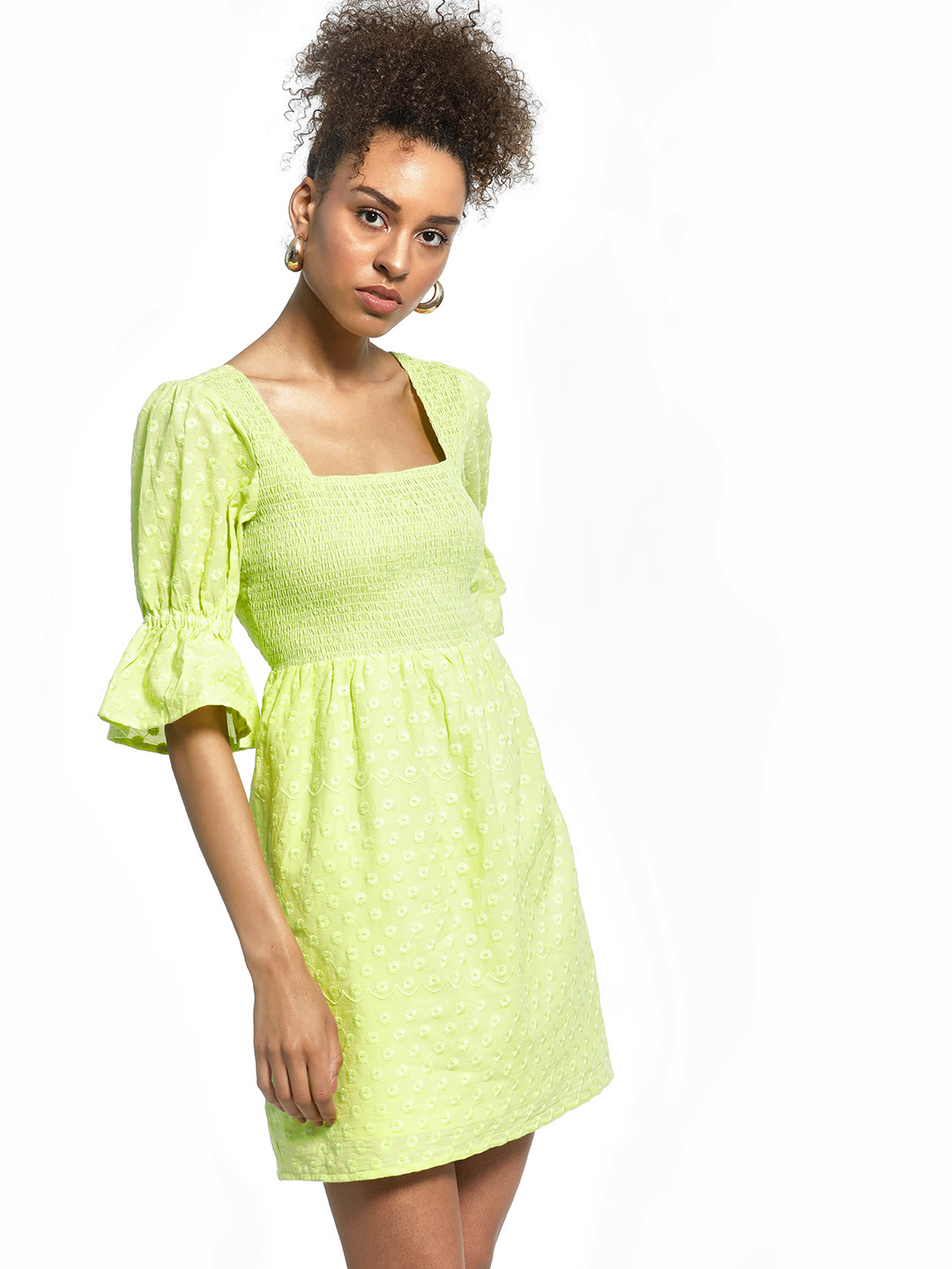 KOOVS Green Broderie Smocked Skater Dress 1