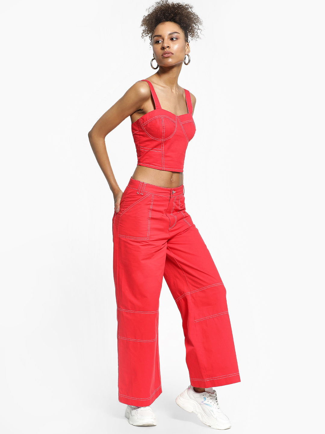 KOOVS Red Contrast Stitch Wide Leg Trousers 1