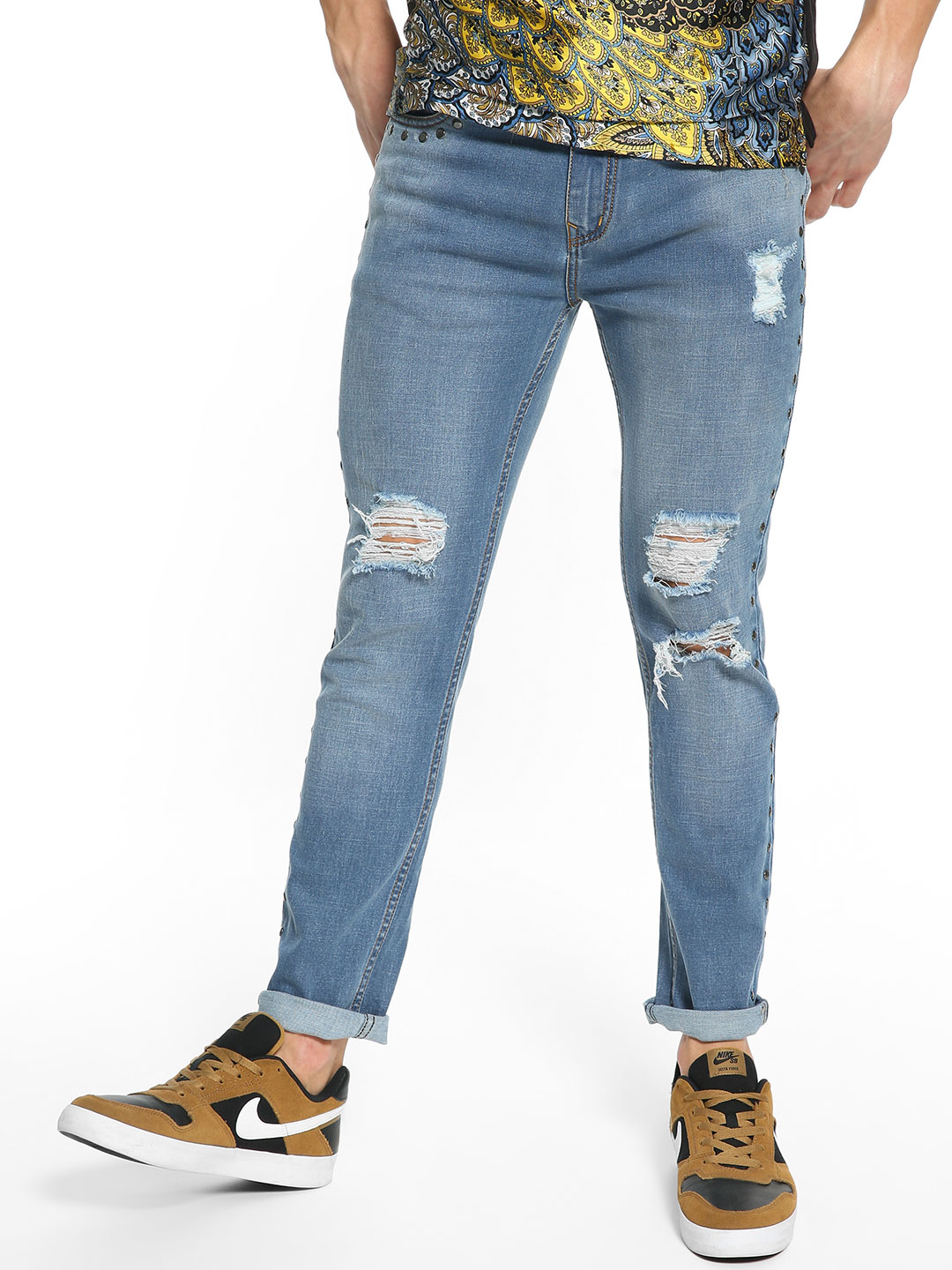 K Denim Blue KOOVS Light Wash Studded Skinny Jeans 1
