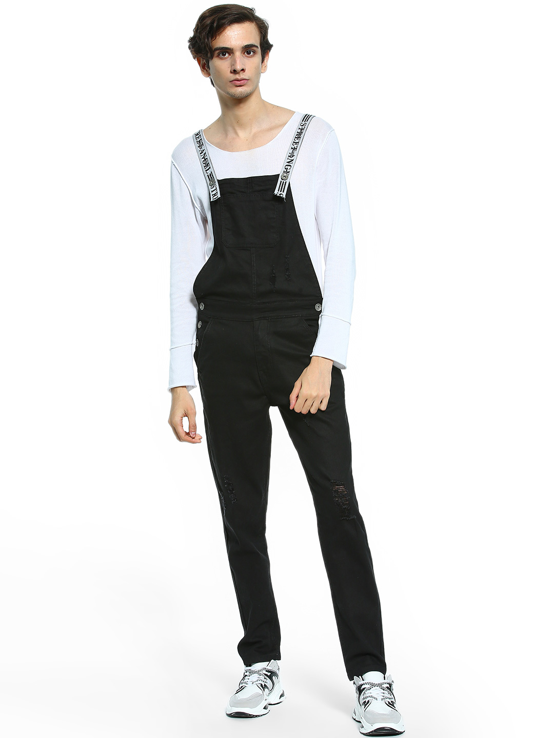 K Denim Black KOOVS Slogan Strap Distressed Dungarees 1