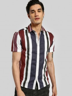 TRUE RUG Colour Block Vertical Stripe Shirt