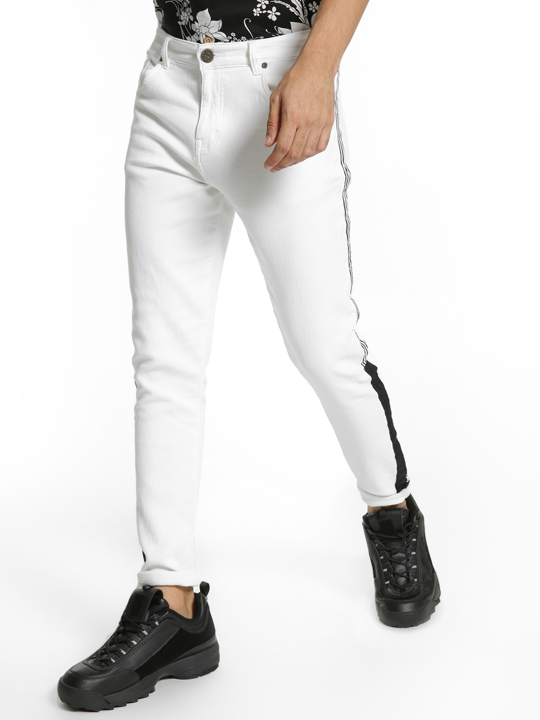 TRUE RUG White Contrast Side Tape Skinny Jeans 1