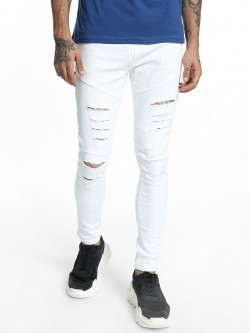TRUE RUG Ripped Biker Panel Skinny Jeans