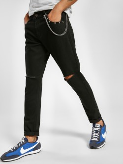 TRUE RUG Ripped Chain Detail Slim Jeans