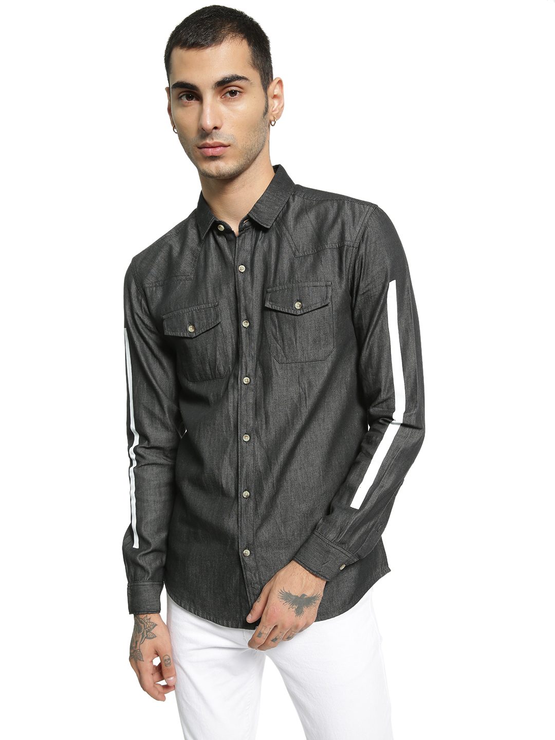 TRUE RUG Black Contrast Stripe Denim Shirt 1