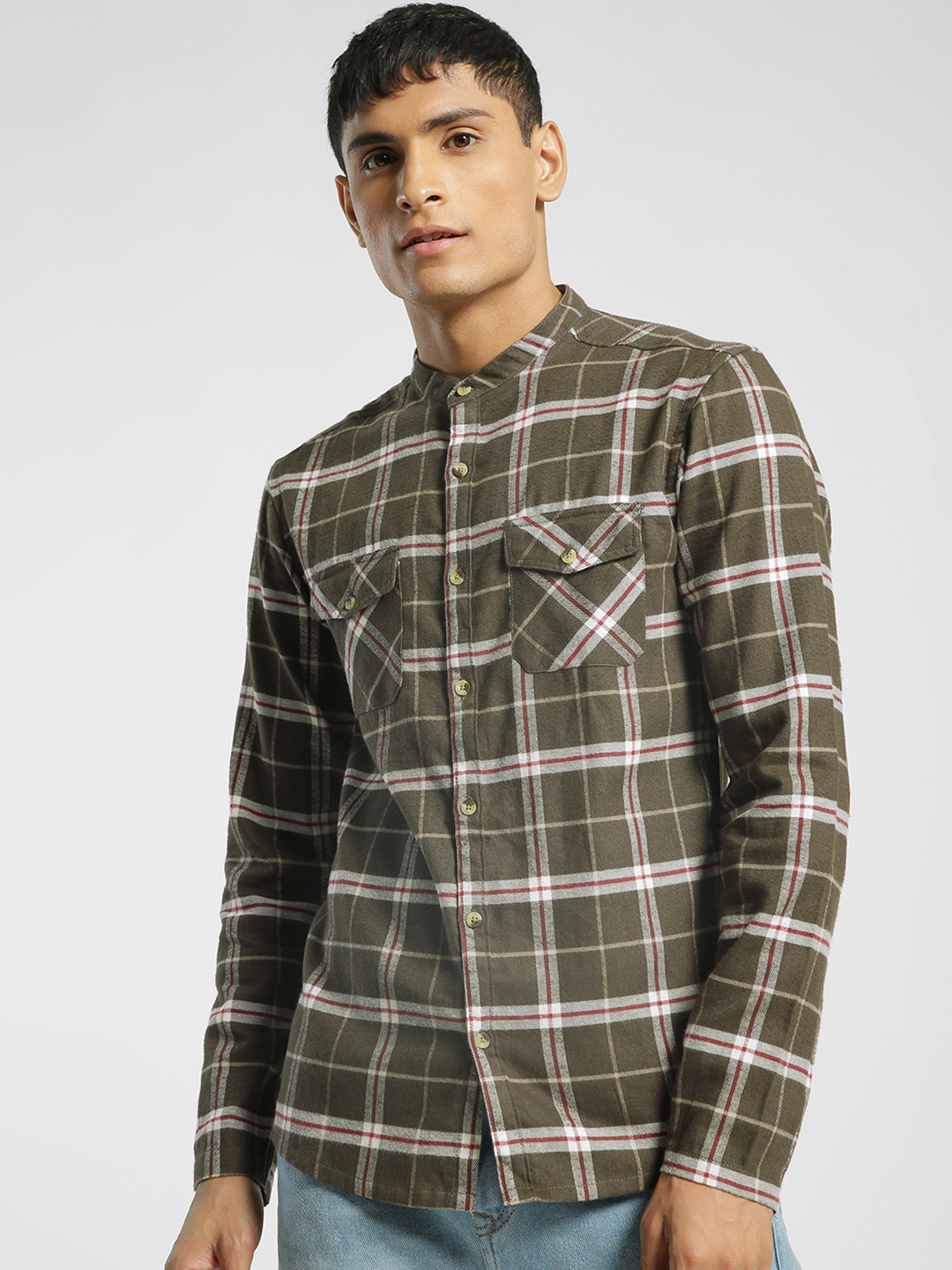 TRUE RUG Olive Multi Check Mandarin Collar Shirt 1