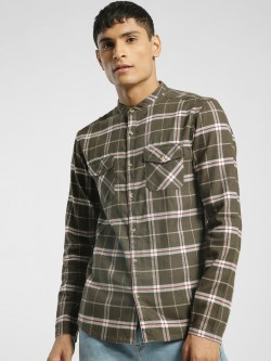 TRUE RUG Multi Check Mandarin Collar Shirt