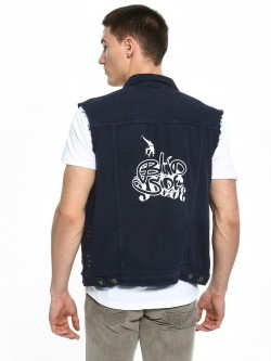 TRUE RUG Back Placement Print Sleeveless Denim Jacket