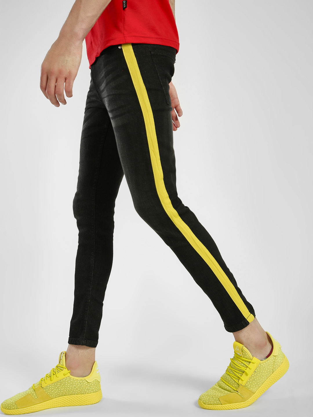 IMPACKT Black/Yellow Mid Wash Side Tape Skinny Jeans 1