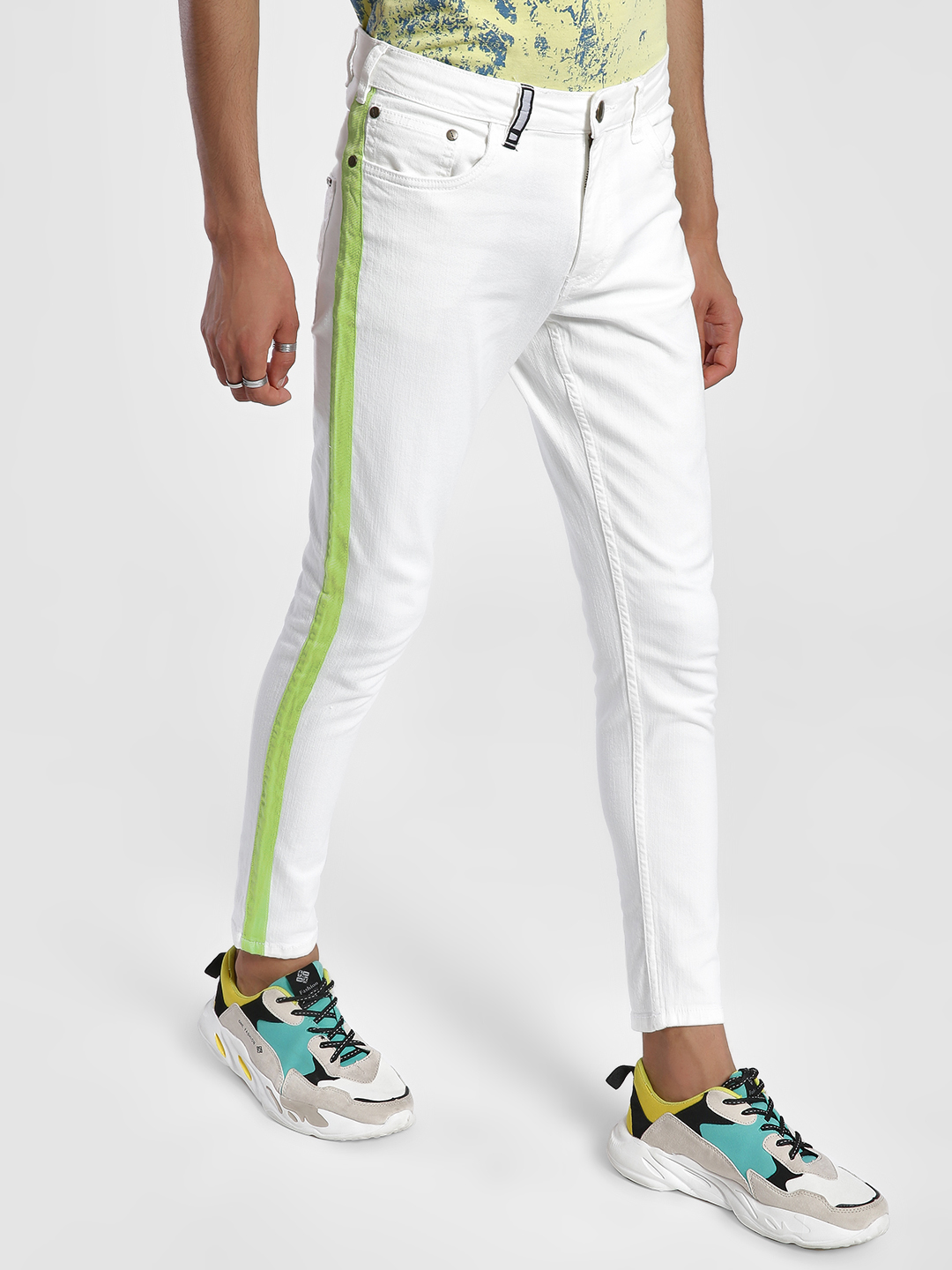 IMPACKT WHITE/LIME Contrast Side Tape Skinny Jeans 1