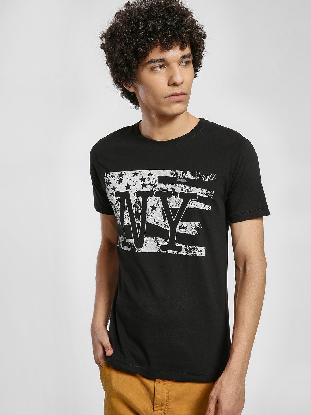 IMPACKT Black NY Flag Placement Print T-Shirt 1