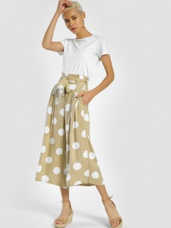 MIWAY Polka Dot Print Cropped Trousers