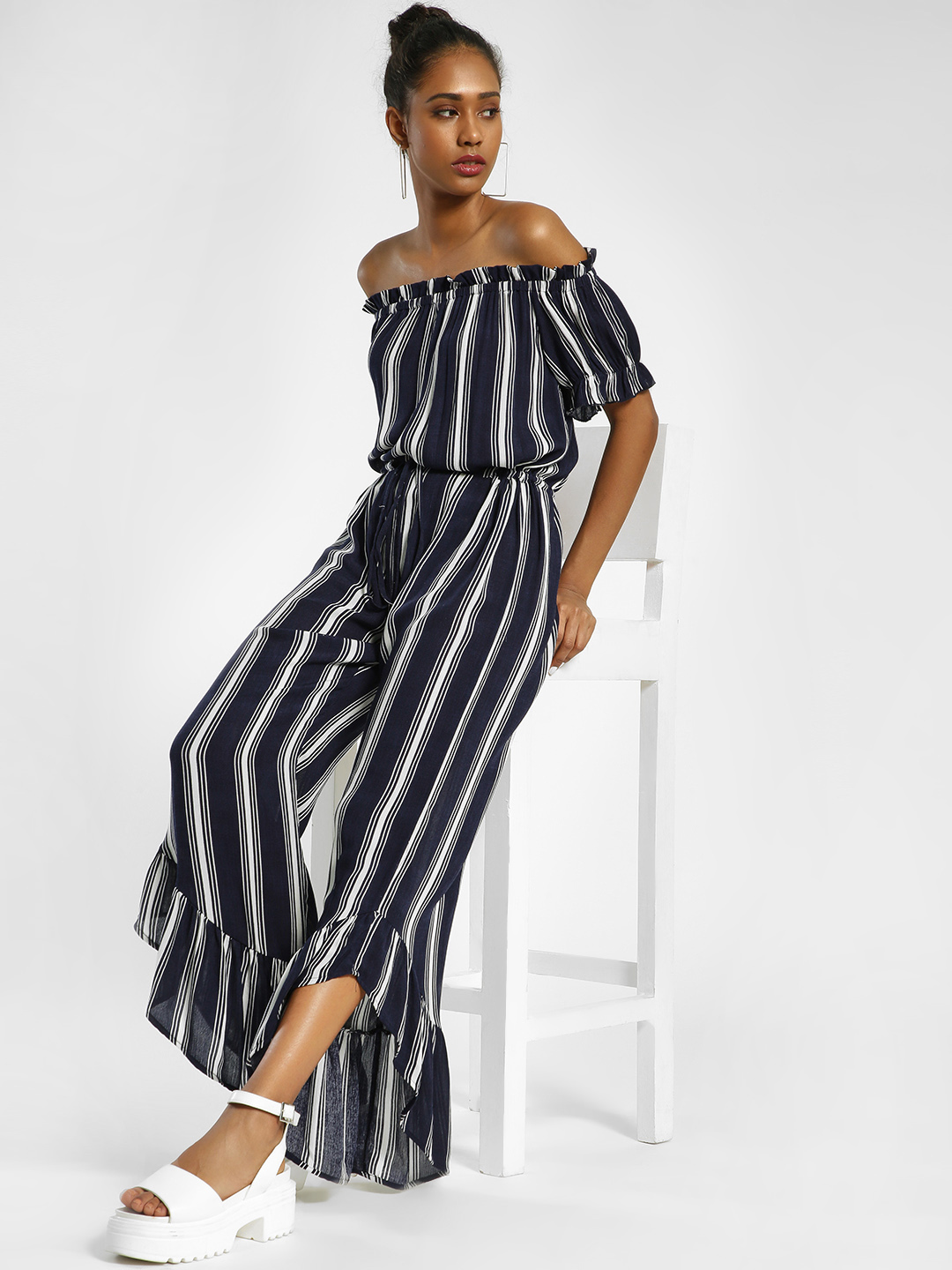 MIWAY Multi Vertical Stripe Off-Shoulder Jumpsuit 1