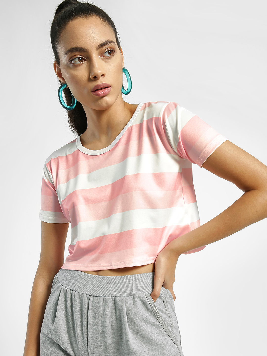 EmmaCloth Multi Stripe Crop T-Shirt 1