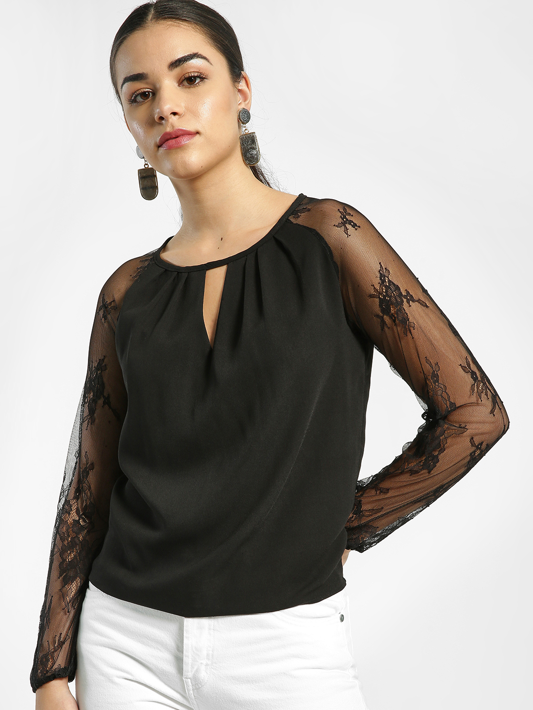 EmmaCloth Black Mesh Embroidered Sleeve Blouse 1