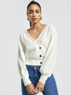 EmmaCloth Button Detail Wrap Top