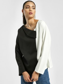 EmmaCloth Colour Block Asymmetric Neck Blouse