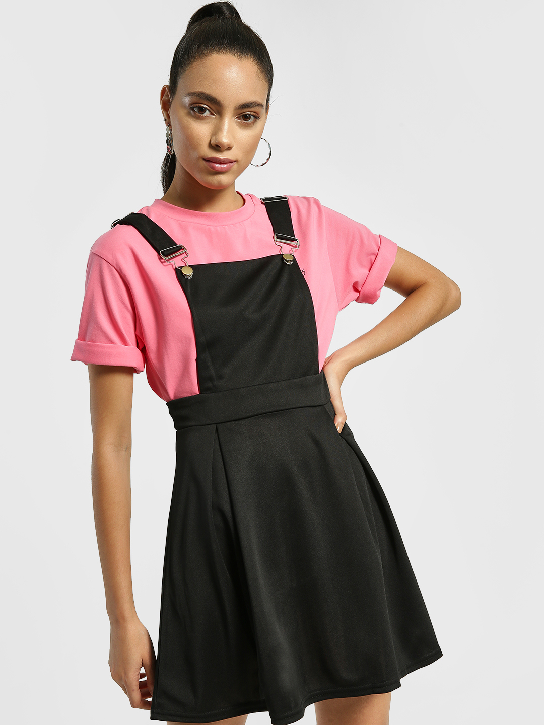 EmmaCloth Black Basic Pinafore Skater Dress 1