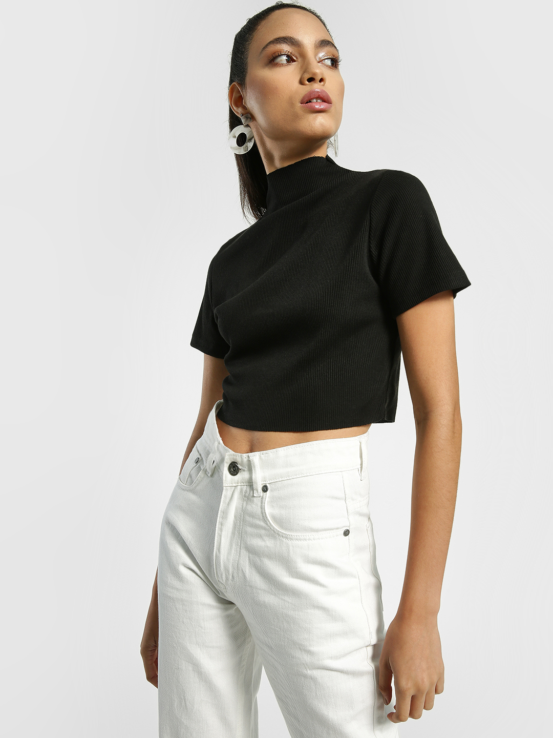 EmmaCloth Black Ribbed Turtle Neck Crop Top 1
