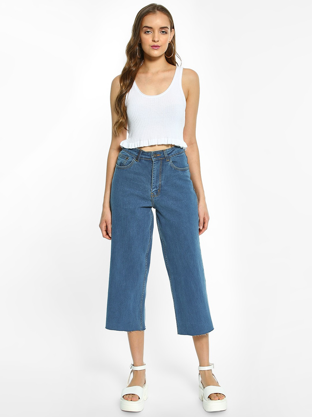 K Denim Blue KOOVS Basic Cropped Straight Jeans 1