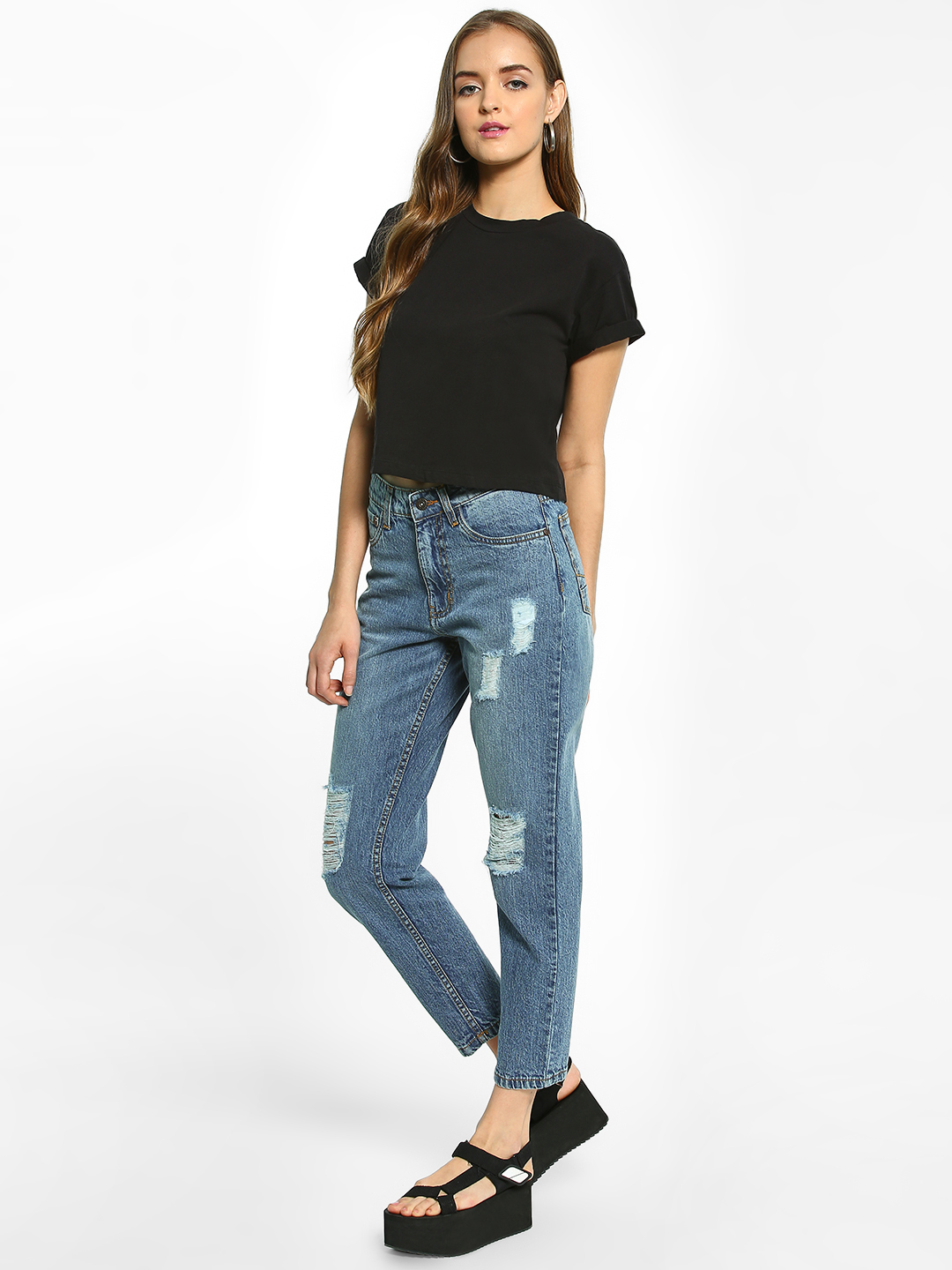 K Denim LT BLUE KOOVS Distressed High-Waist Boyfriend Jeans 1