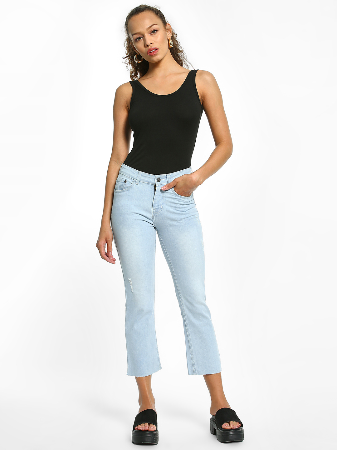 K Denim Light Blue KOOVS Basic Cropped Straight Jeans 1