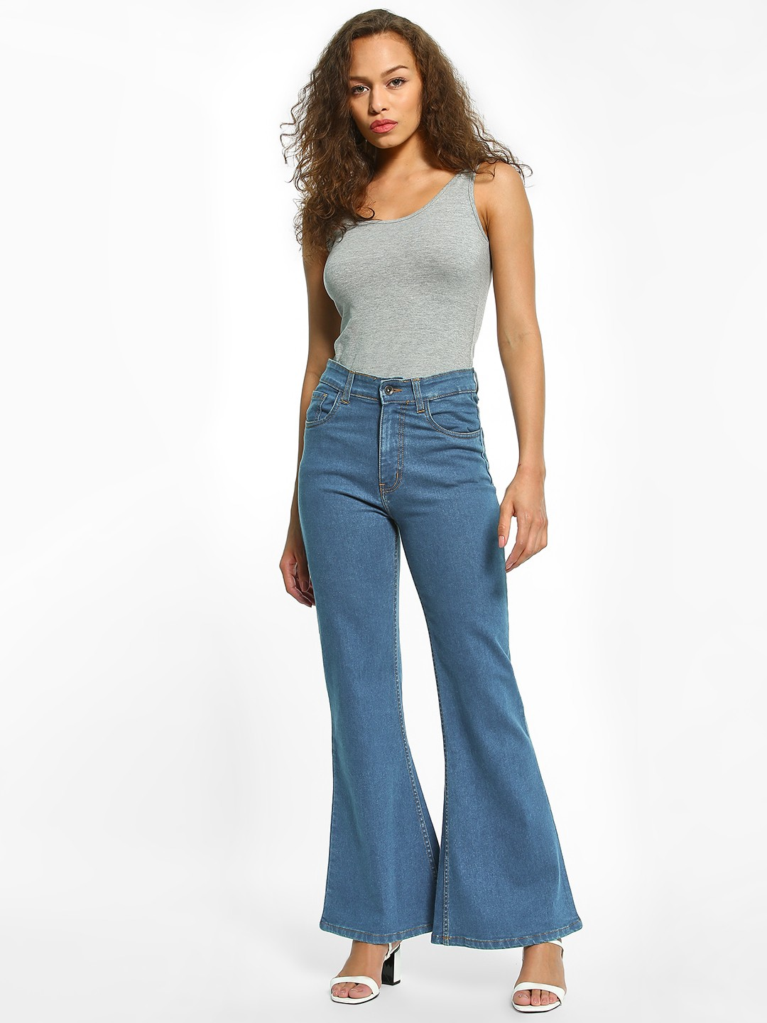 K Denim Blue KOOVS High Waist Flared Jeans 1
